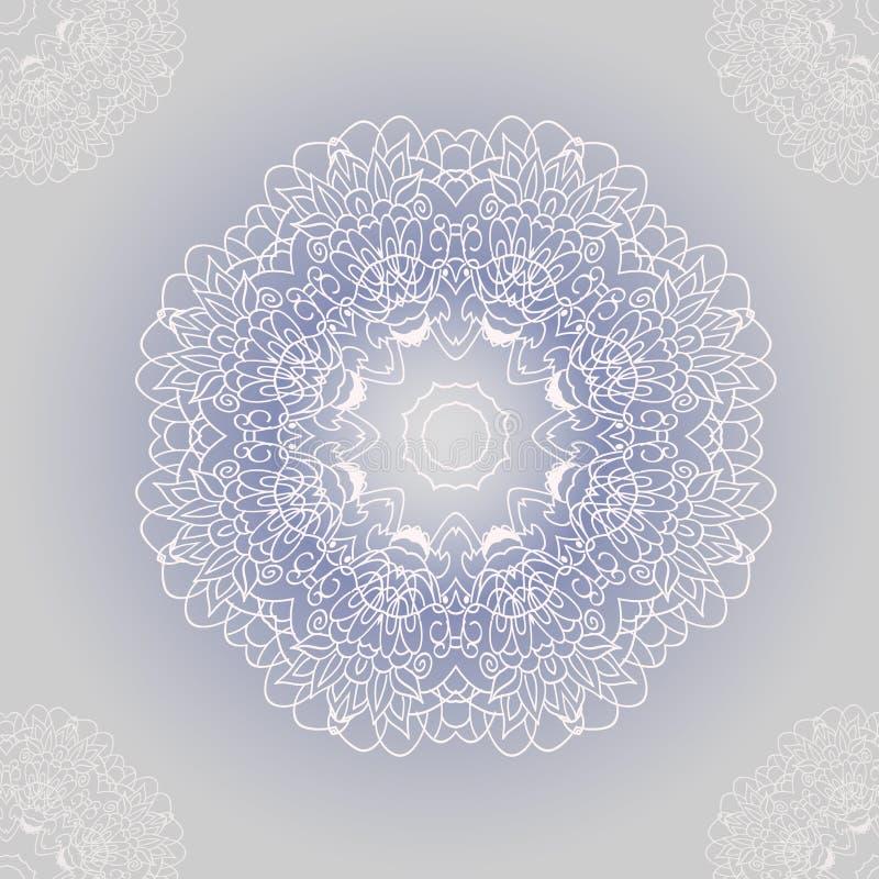 Snör åt den dekorativa rundan för vektorn med damast och vektor illustrationer