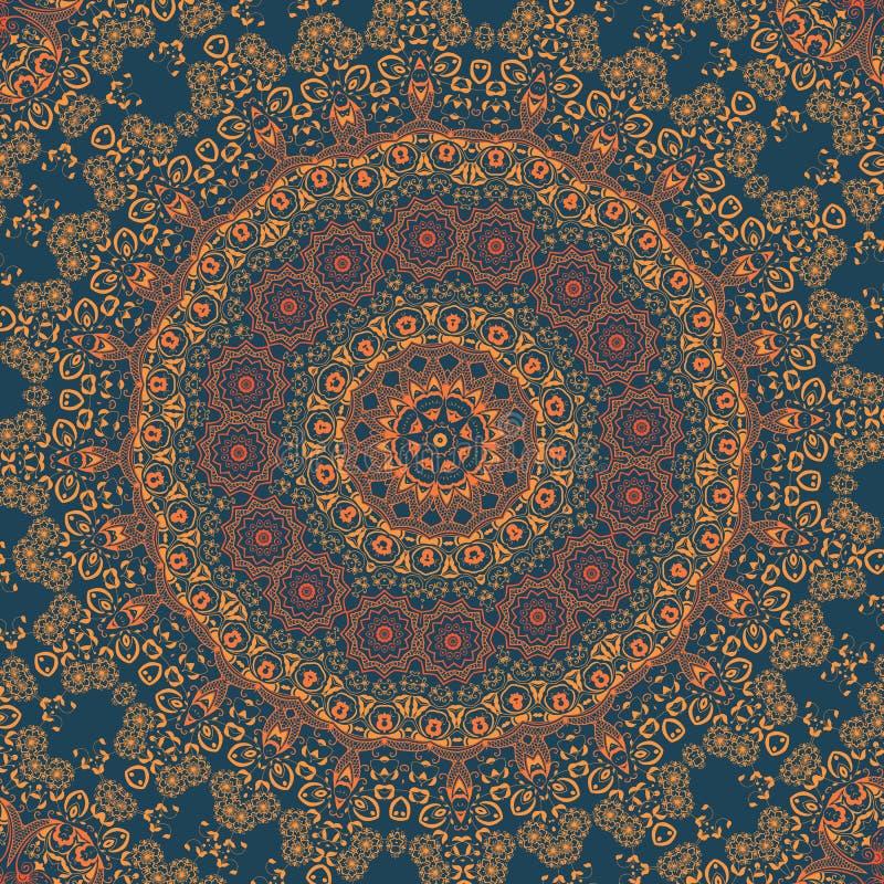 Snör åt den dekorativa rundan för vektorn med damast- och arabesquebeståndsdelar Mehndi stil Orient traditionell prydnad Zentangl royaltyfri illustrationer