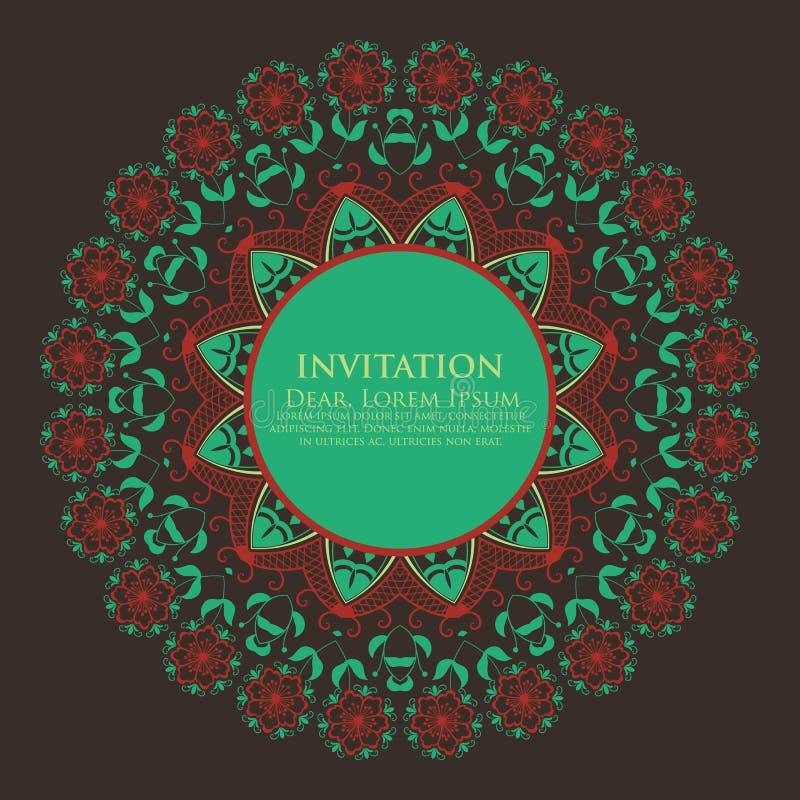 Snör åt den dekorativa rundan för vektorn med damast- och arabesquebeståndsdelar Mehndi stil Orient traditionell prydnad Zentangl stock illustrationer