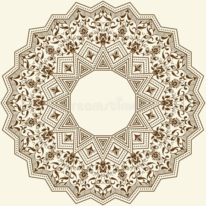 Snör åt den dekorativa rundan för vektorn med damast- och arabesquebeståndsdelar Zentangle-som runda färgad blom- prydnad stock illustrationer