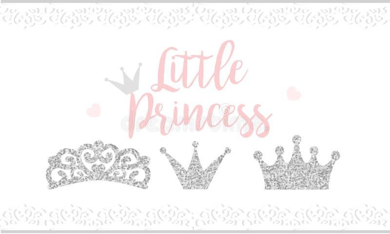 Snör åt den lilla prinsessan för rosa text på vit bakgrund med Gullig silver blänker textur Grå färgglanseffekt Födelsedagparti o vektor illustrationer
