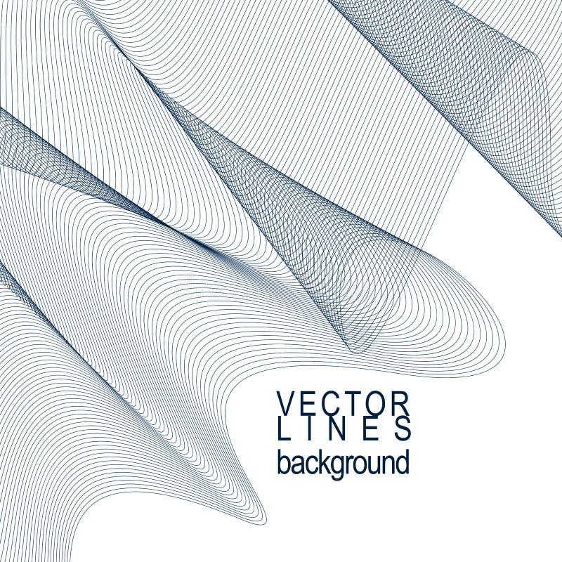 Snör åt eleganta flödande kurvor för dimensionellt motiv, bakgrund i kvickhet vektor illustrationer