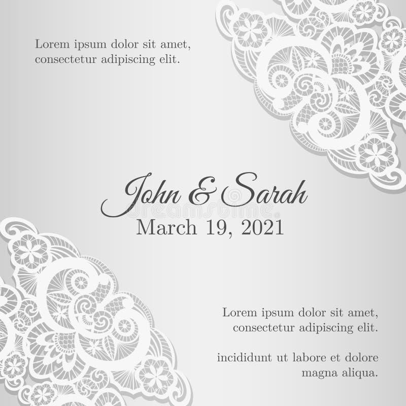 Snör åt räkningen för tappningsilverbröllopinbjudan med vektor illustrationer