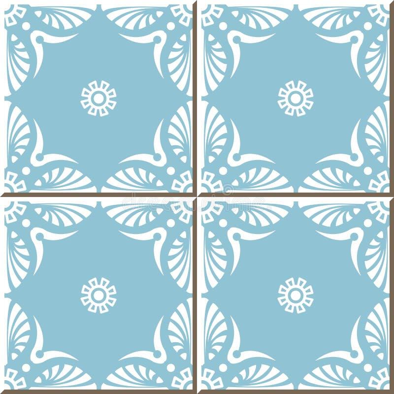 Snör åt sömlösa väggtegelplattor för tappning av vit för blåttfanform blomman som är marockansk, portugis stock illustrationer