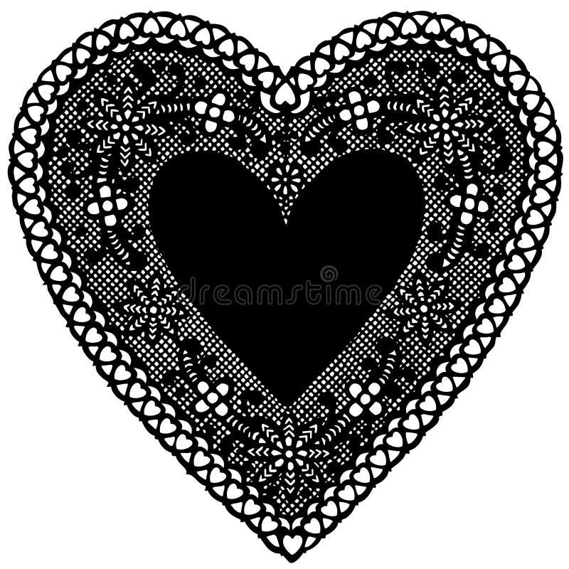 snör åt svart doilyhjärta för bakgrund white stock illustrationer