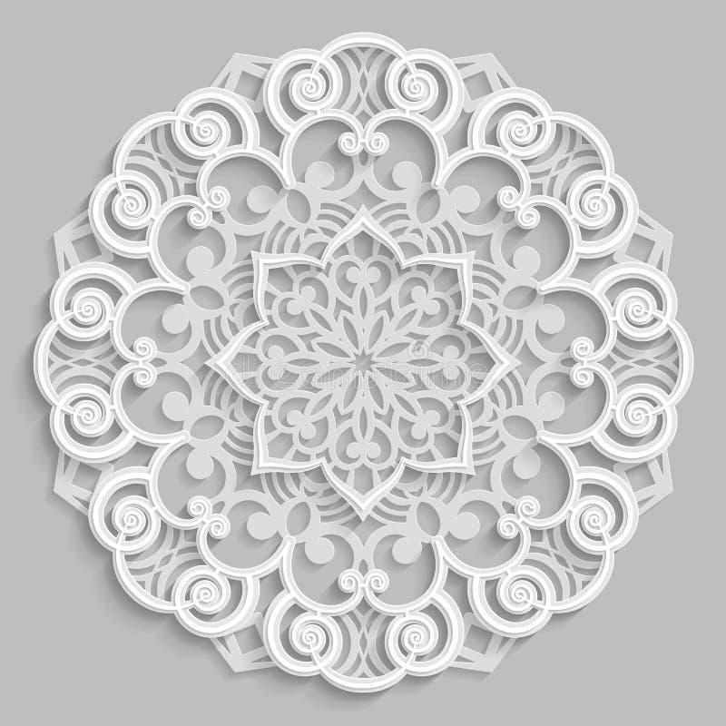 Snöra åt 3D mandalaen, den symmetriska openwork modellen för rundan, den dekorativa snöflingan, den arabiska prydnaden, dekorativ stock illustrationer
