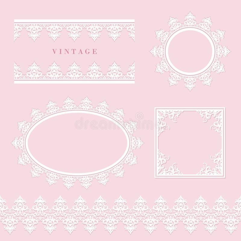 Snöra åt den dekorativa ramen och gränsa uppsättningen på pastellfärgade rosa färger Runda och ovala spets- doilies Bröllop födel stock illustrationer