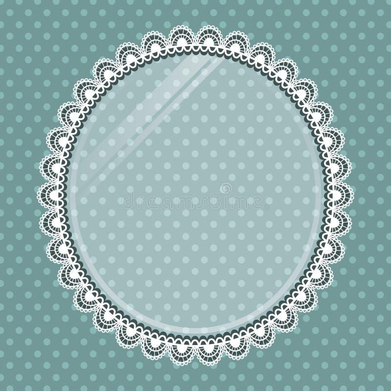 Snöra åt den ovala ramen med exponeringsglas på bakgrundsprickarna vektor illustrationer