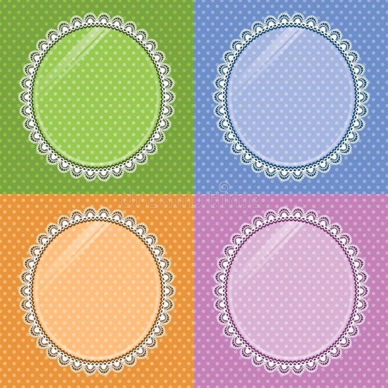 Snöra åt den ovala ramen med exponeringsglas på bakgrundsprickarna Uppsättning vektor illustrationer