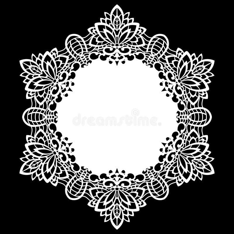 Snöra åt den pappers- doilyen för rundan, den spets- snöflingan som hälsar beståndsdelen, laser-snittmallen, doily för att dekore vektor illustrationer