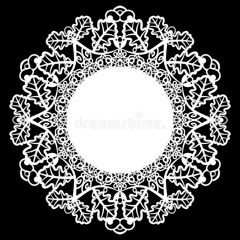 Snöra åt den pappers- doilyen för rundan som är patern av eksidor och att hälsa beståndsdelen, laser-snittmallen, doily för att d royaltyfri illustrationer