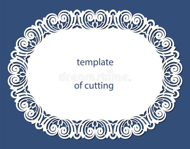 Snöra åt den runda pappersdoilyen, hälsningbeståndsdelen, laser klipper mallen, doily för att dekorera kakan, stock illustrationer