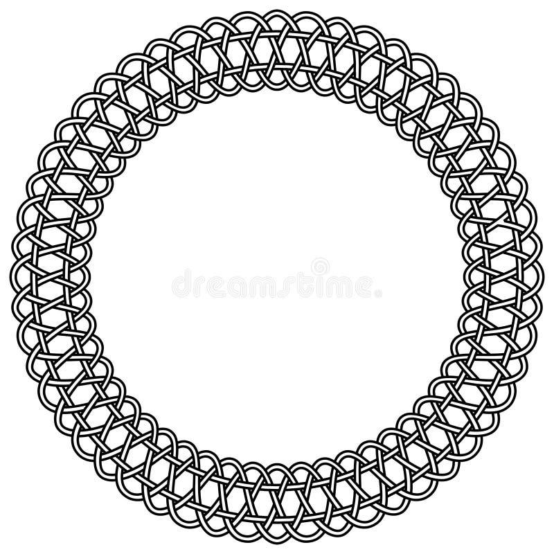 Snöra åt den runda ramen för rosettmakramévektorn av makraméfnuren vektor illustrationer