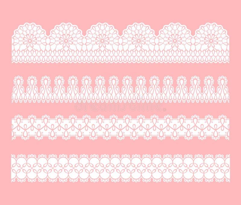 Snöra åt den sömlösa gränsen Uppsättningen av vit snör åt traceryband royaltyfri illustrationer