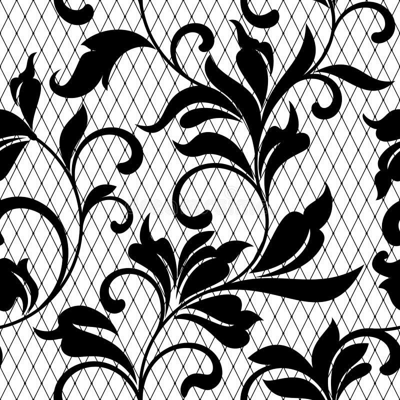 Snöra åt den svarta sömlösa modellen med blommor på vit backgroundLace vektor illustrationer