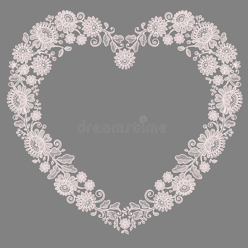 snöra åt pinken Hjärtaformram vektor illustrationer