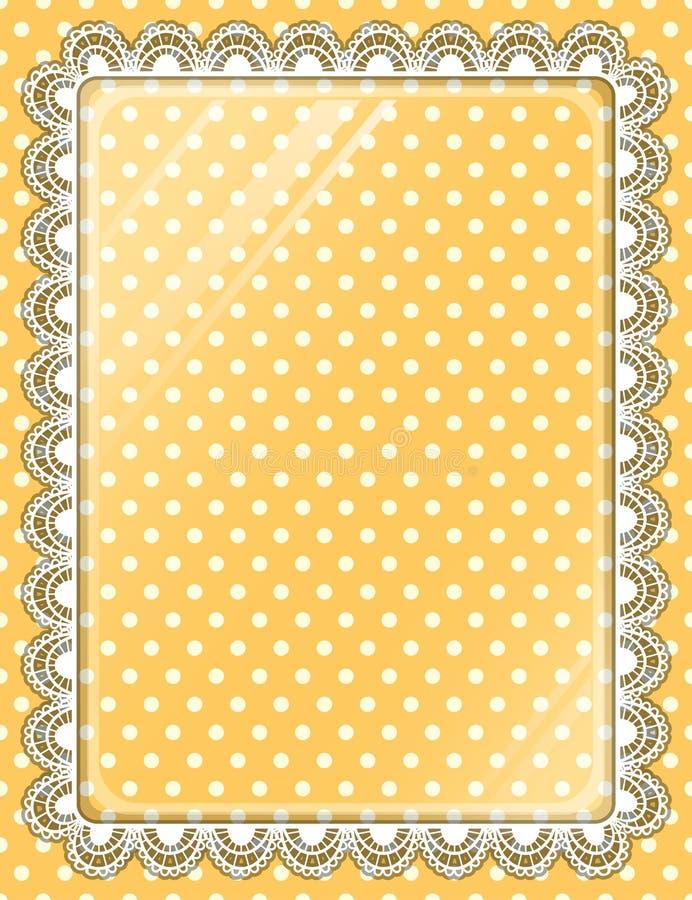 Snöra åt ramen med exponeringsglas på bakgrundsprickarna royaltyfri illustrationer