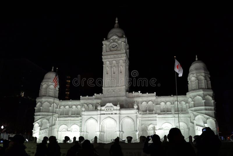 Snöskulptur av Sultan Abdul Samad i Sapporo royaltyfria foton