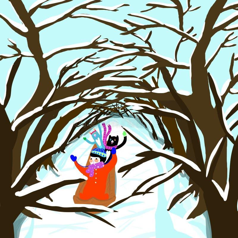 Snösleid till och med trädtunnelen vektor illustrationer