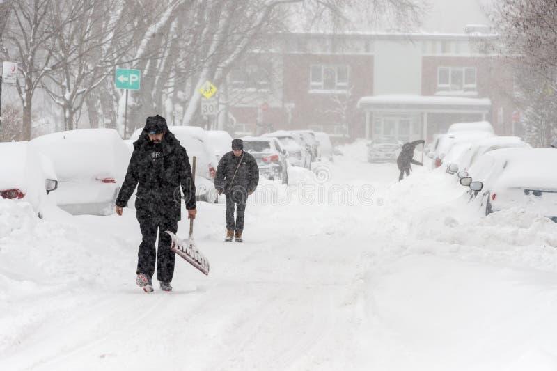 Snöstorm Stella i Montreal royaltyfria bilder
