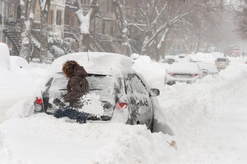 Snöstorm Stella i Montreal royaltyfri foto