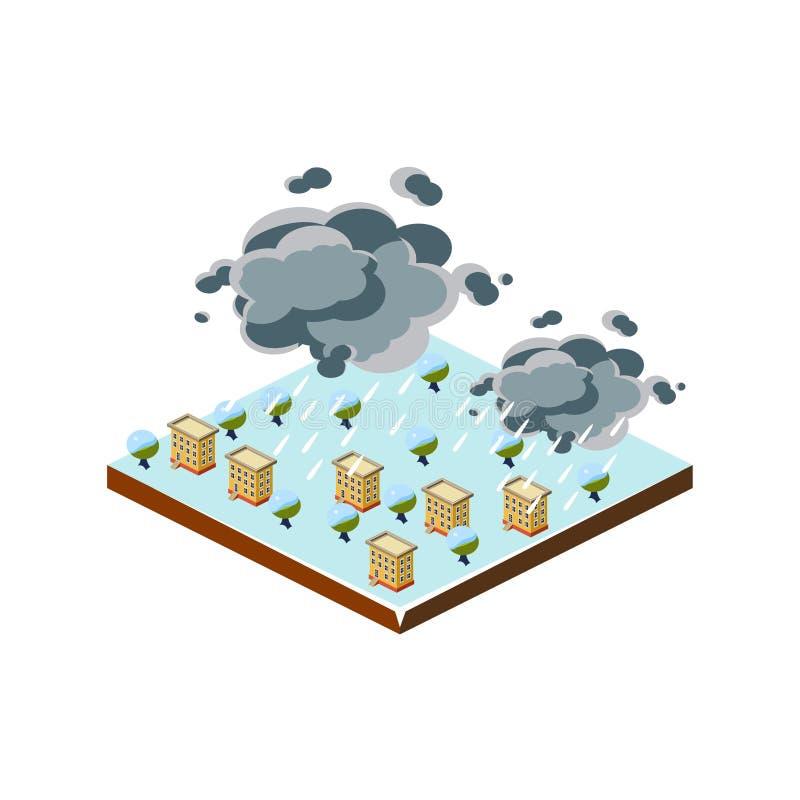 Snöstormnaturkatastrofsymbol också vektor för coreldrawillustration stock illustrationer