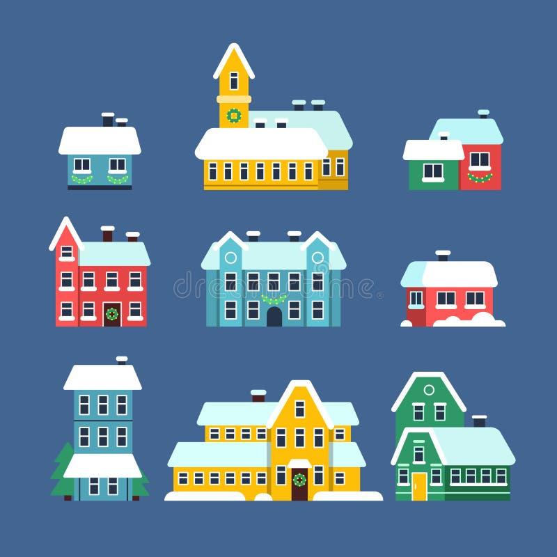 Snötakhus Stads- snöig stadssnöstorm för kall säsong med plana illustrationer för snöflingavektor vektor illustrationer