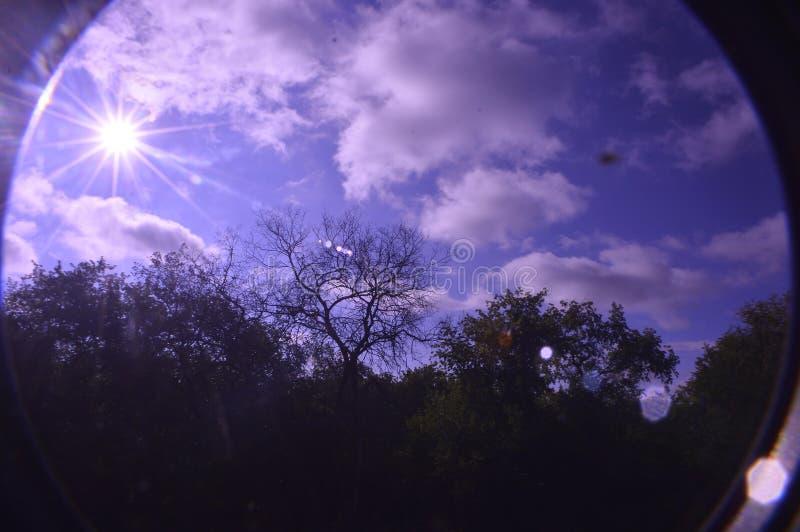 Snövitt solbelyst för moln som filtreras till och med ett filter royaltyfri fotografi