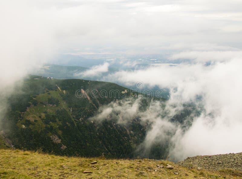 Sněžka - View at cloudy mountains. In Krkonoše, Czech republic royalty free stock image