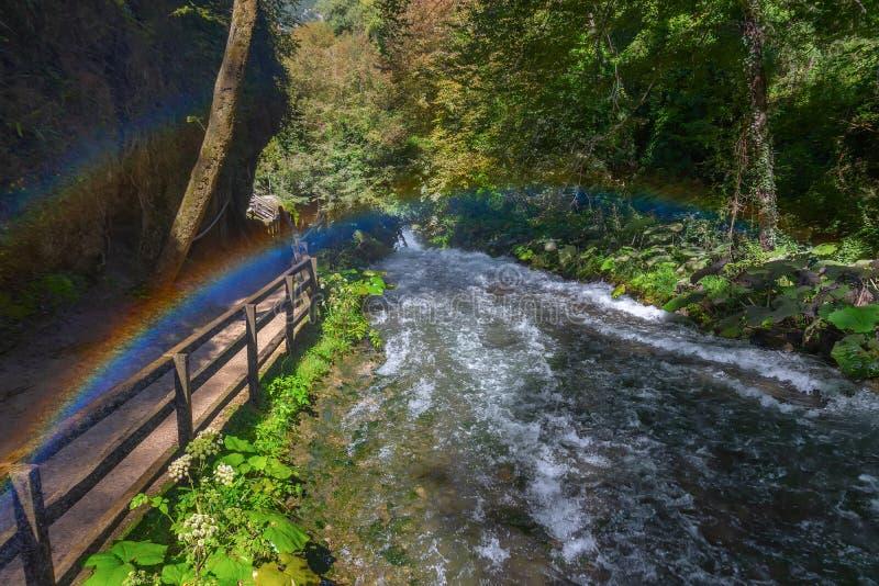 Snabb bergström med regnbågebågen, Marmore vattenfall Casc royaltyfria foton
