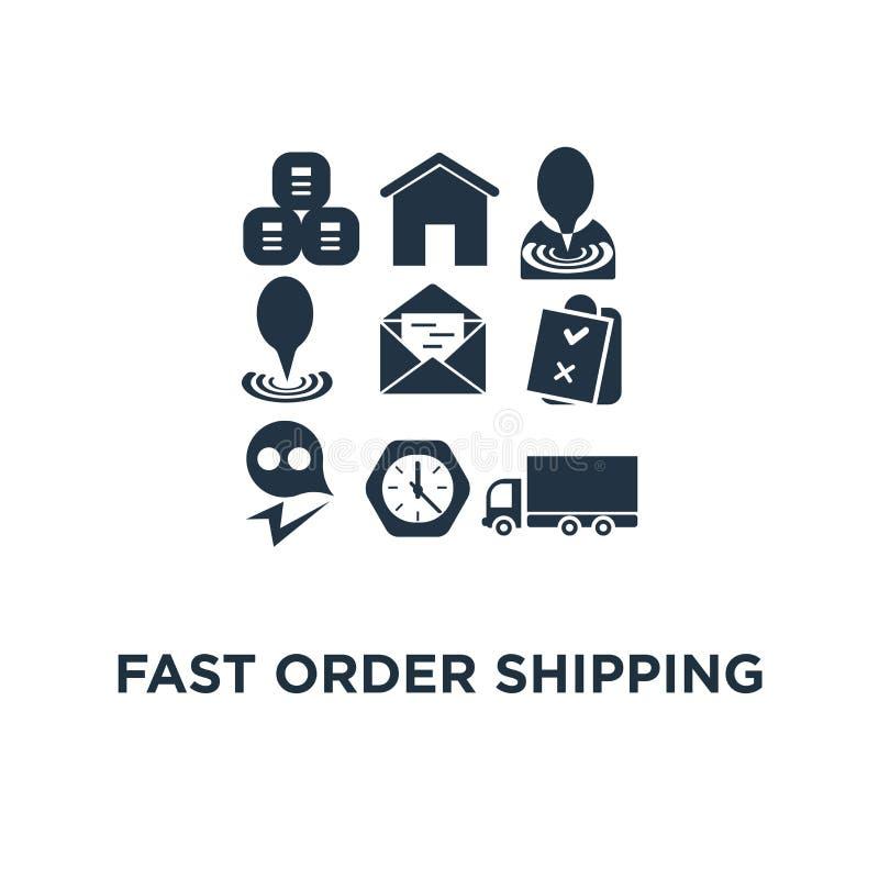 snabb beställningssändningssymbol överför jordlotten, paletten med askar, lastbilpåfyllningen, designen för symbolet för logistik vektor illustrationer