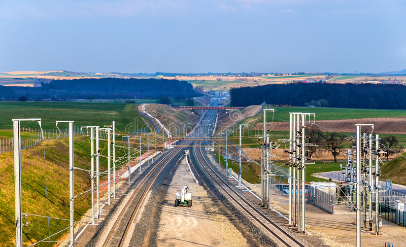 Snabb fas II för järnväg LGV Est under near räddning för konstruktion royaltyfri foto