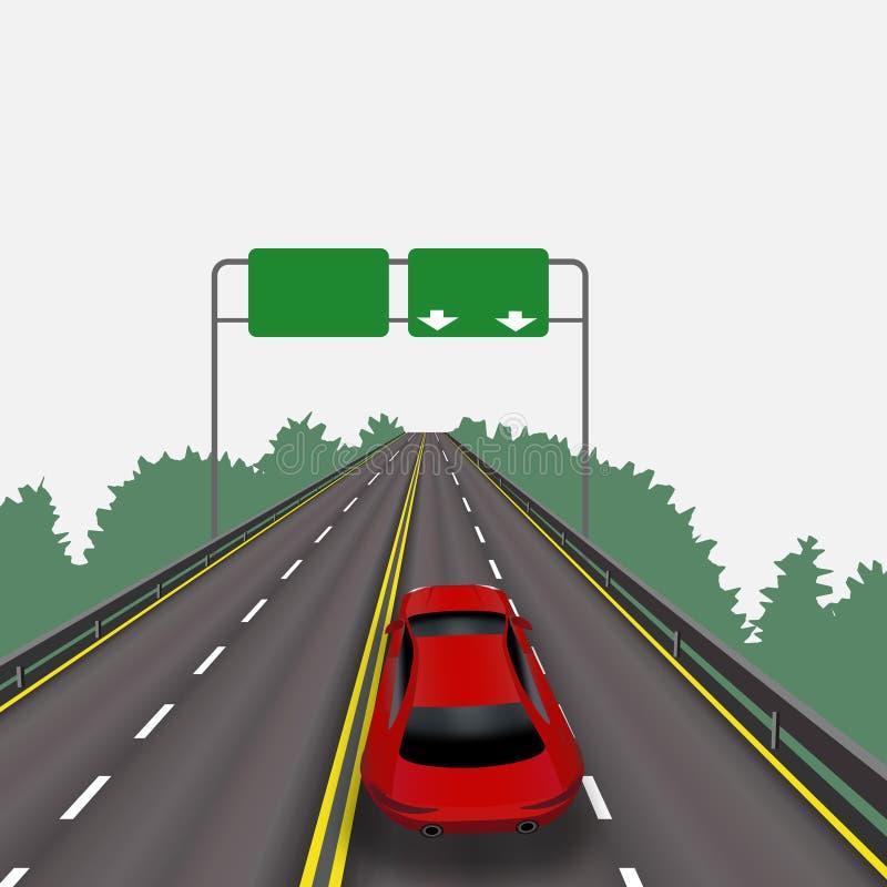 Snabb huvudväg i perspektiv Röd bil bakgrund isolerad white Informationstecken abstrakt liggande stock illustrationer
