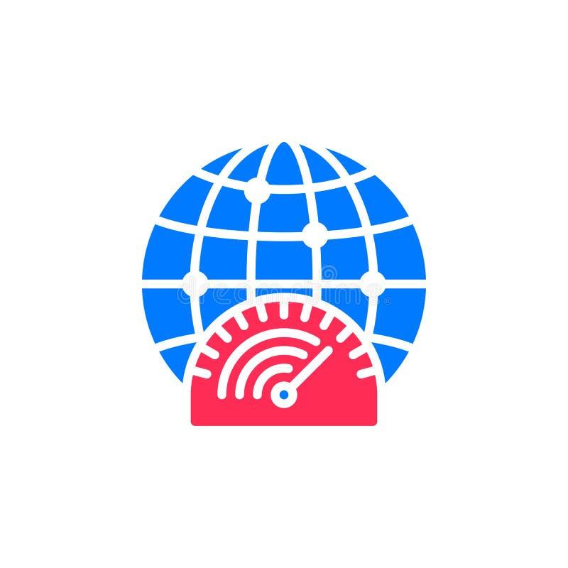 Snabb internetuppkopplingsymbolsvektor, fyllt plant tecken, fast färgrik pictogram som isoleras på vit royaltyfri illustrationer