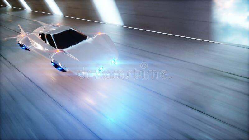 Snabb körning för futuristisk flygbil i scifi-tunnelen, coridor Begrepp av framtid framförande 3d vektor illustrationer