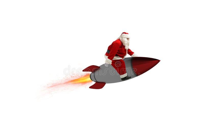 Snabb leverans av julgåvor Santa Claus som är klar att flyga med en raket som isoleras på vit bakgrund royaltyfri fotografi