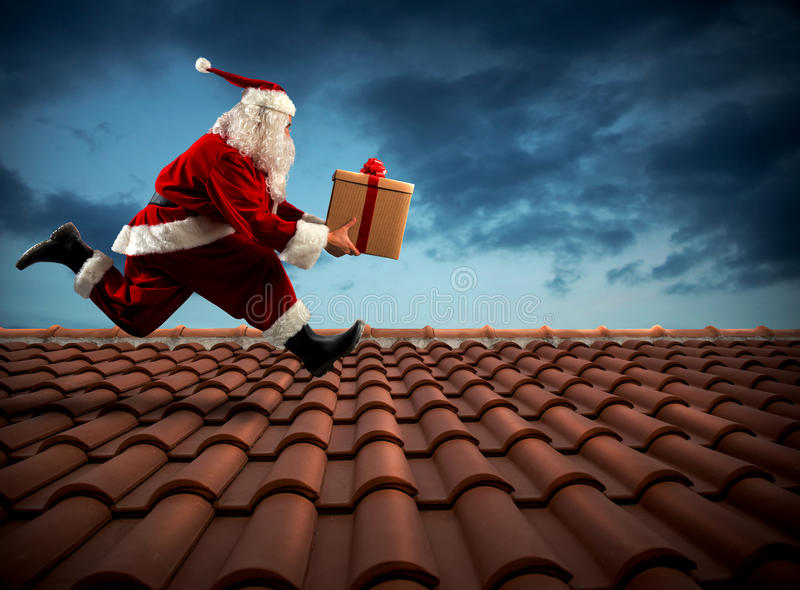 Snabb leverans Santa Claus arkivfoto