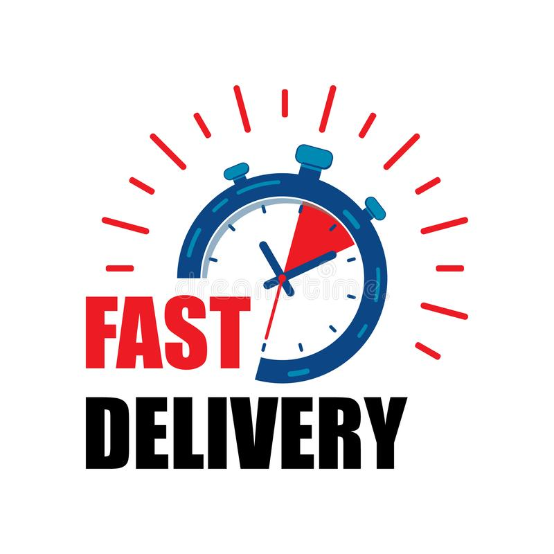 Snabb leveransklockaservice med röda pilar Uttrycklig snabb vektor eps10 f?r hems?ndningstoppursymbol snabb leveransklockasymbol stock illustrationer