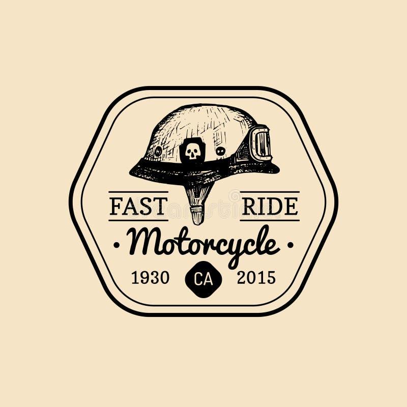 Snabb logo för rittcyklistlager Motorcykelklubbatecken Garageetikett Vektorillustration av den hand drog hjälmen med exponeringsg stock illustrationer