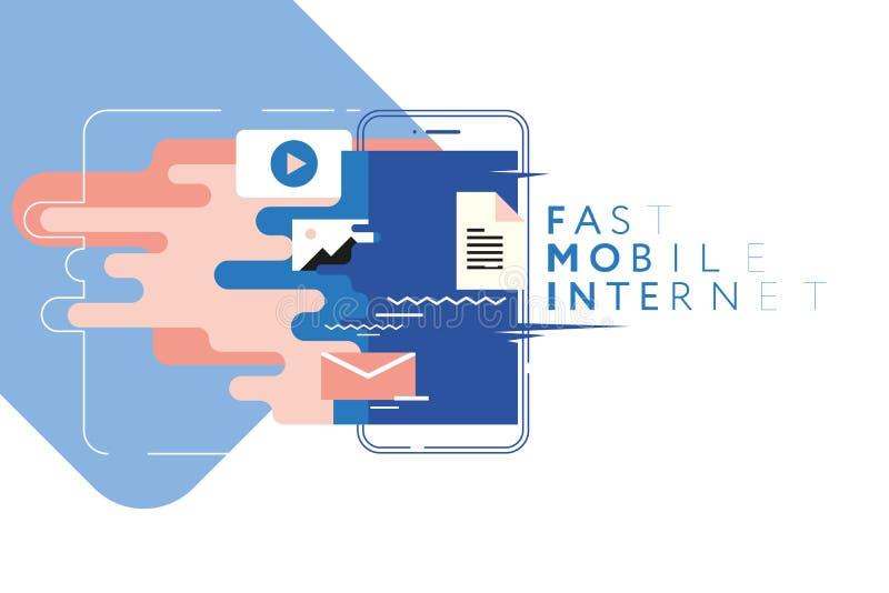 Snabb mobil internet, begrepp av snabb internetåtkomst, snabb dataöverföring royaltyfri illustrationer