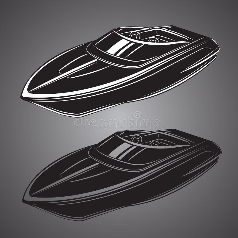 Snabb motorbåt isolerad vektorillustration Lyxigt och dyrt fartyg stock illustrationer