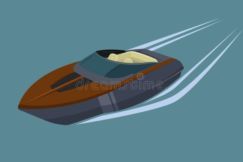Snabb motorbåt isolerad vektorillustration Lyxigt och dyrt fartyg vektor illustrationer
