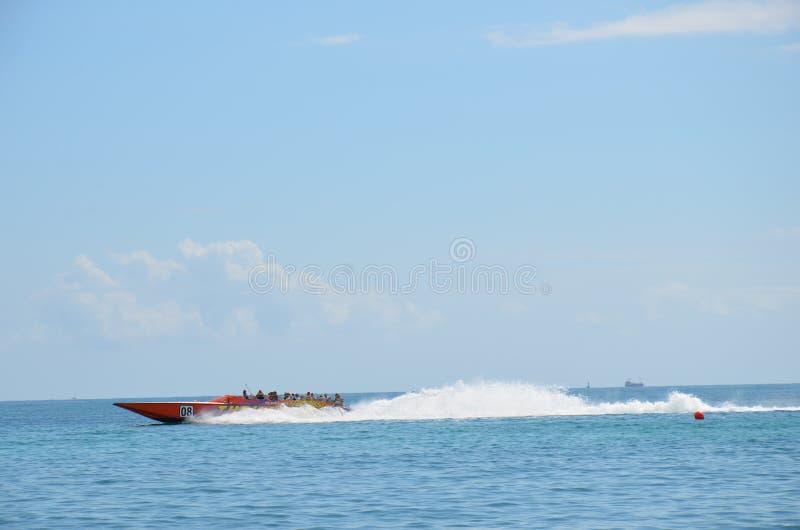 Snabb motorbåt som springer, Miami Beach royaltyfri fotografi
