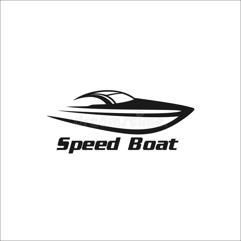 Snabb motorbåtkontur stock illustrationer