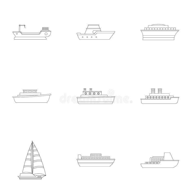 Snabb motorbåtsymbolsuppsättning, översiktsstil royaltyfri illustrationer