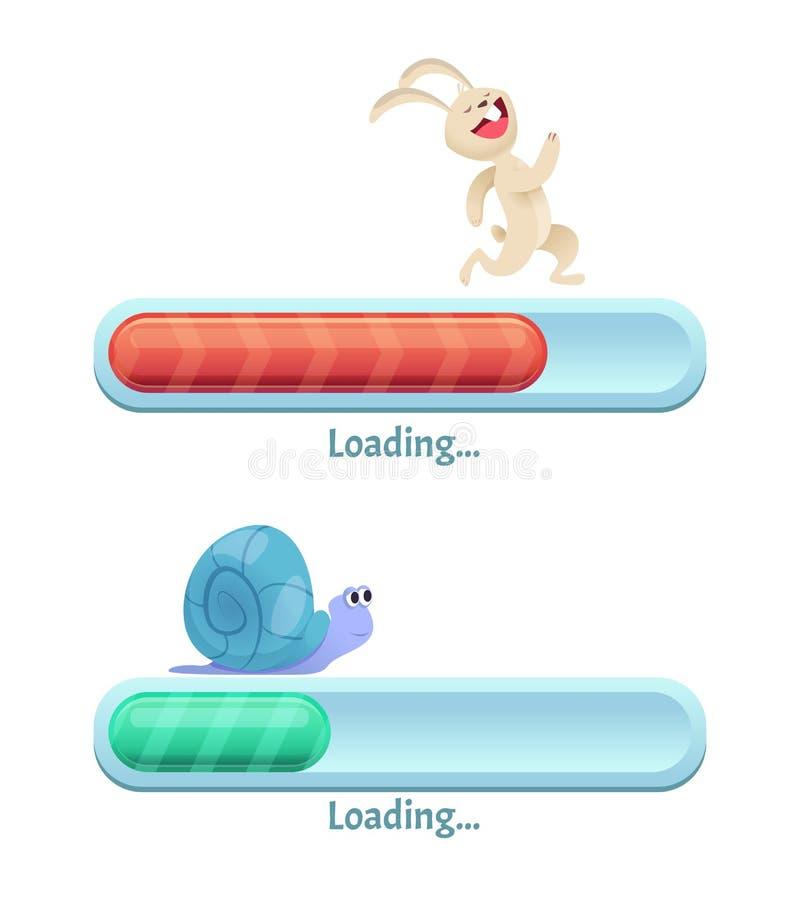 Snabb nedladdningstång Affärsidéen av kanin för typ för datorinternetconectionen snabb och den långsamma snigeln i dynamiskt pose royaltyfri illustrationer