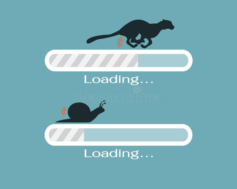 Snabb och långsam framstegpäfyllningsstång stock illustrationer