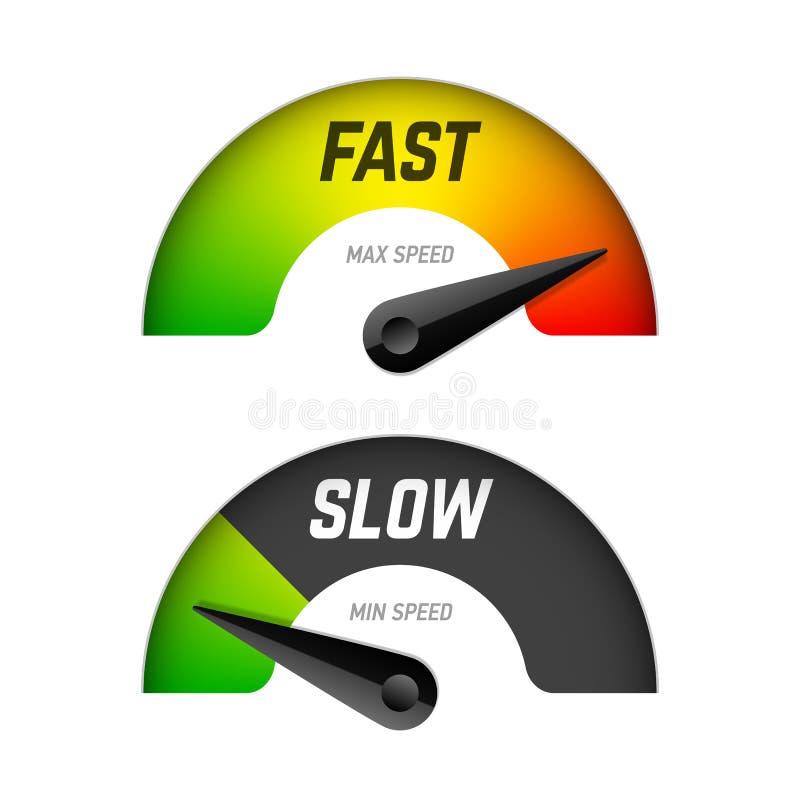 Snabb och långsam nedladdning stock illustrationer