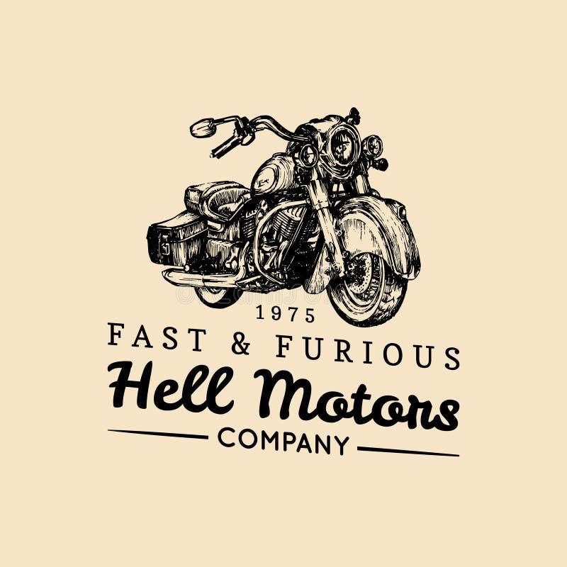 Snabb och rasande advertizingaffisch Dragen motorcykel för vektor hand i färgpulverstil Detaljerad kryssareillustration för tappn stock illustrationer