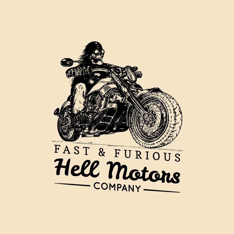 Snabb och rasande advertizingaffisch Dragen skelett- ryttare för vektor hand på motorcykeln Evig cyklistillustration för tappning stock illustrationer